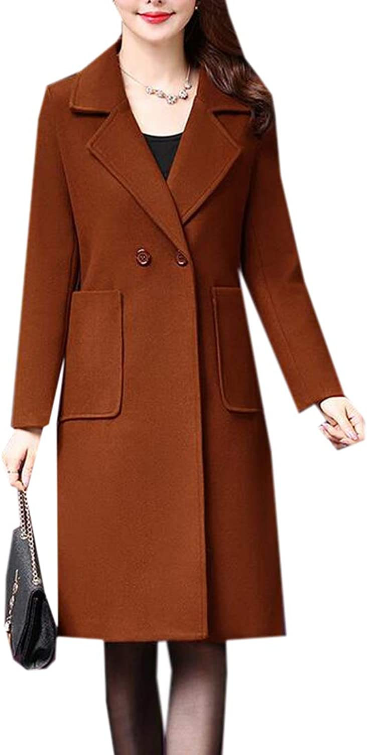 Fubotevic Women's Warm Mid Length Lapel Winter Solid Wool Blended Trench Pea Coat Outwear