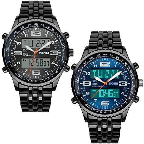Warmiehomy Herren Analoge-Digitale Armbanduhr Stoppuhr Sportuhr wasserdichte Quarz Uhr für Männer Cool Sport große Anzeige LED Sportuhr mit Wecker und Schwarzem Edelstahl Armband