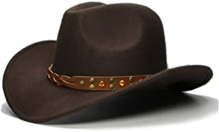 CHENDX High Quality Hat, Boy Girl Cowgirl Bowler Cap Kid Child Wool Wide Brim Cowboy Western Hat Turquoise Yellow Crystal Band Sun Hat Size 52-54Cm (Color : Dark Coffee, Size : 52-54cm)