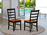 East West Furniture PFC-BLK-W Parfait Modern Dining Chair - Wooden Seat and Black Hardwood Frame Dining Chair Set of 2