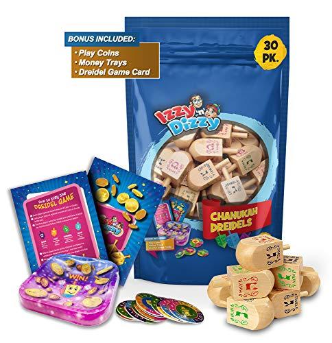 Izzy 'n' Dizzy 30 Medium Wood Dreidels - Classic Chanukah Spinning Draidel Game, Gift and Prize - Bulk Value Pack