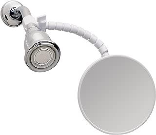 "iDesign Fog-Free Small Shower Shaving Mirror with Flexible Arm, Fogless Mirror for Bathroom, Vanity, Bathtub, Wall, 14"" x 4.5"" x 5.82"", White"