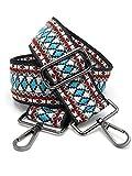 BENAVA - Tracolla per borse con motivo boho, 75-135 cm, con moschettone in colore argento   Tracolla per borse con motivo a maglia come ricambio per manici della borsa, Nero (Nero) - 100170