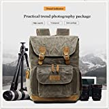 Xisheep Hot Top Retro Photography Backpack Waterproof Photography Canvas Bag Ag (Green)