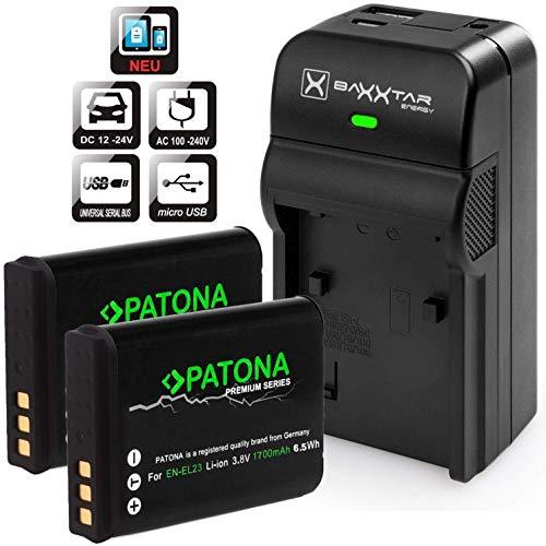 PATONA (2X) Ersatz für Akku Nikon EN-EL23 (1700mAh) - Baxxtar Razer 600 Ladegerät 5in1 - inkl. USB-Ausgang