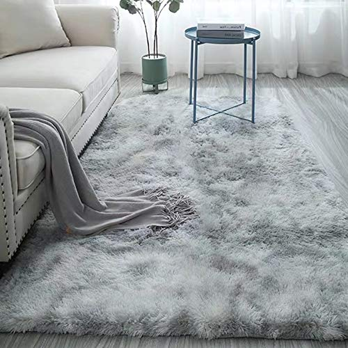 Super Soft Bedroom Area Rugs Shaggy Fluffy High Pile Nursery Rugs Long Shag Furry Carpets for Home Decor Kids Rooms Modern Abstract Area Rugs Anti-Skid Fluffy Rectangular Throw Rug Gray 4 x 6.6ft