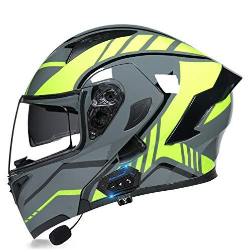 SJAPEX Bluetooth Integrado Casco de Moto Modular con Doble Visera Cascos de Motocicleta ECE/Dot Homologado Motocicleta de Casco Completo para Adultos al Aire Libre Casco Integral C,L=59~60