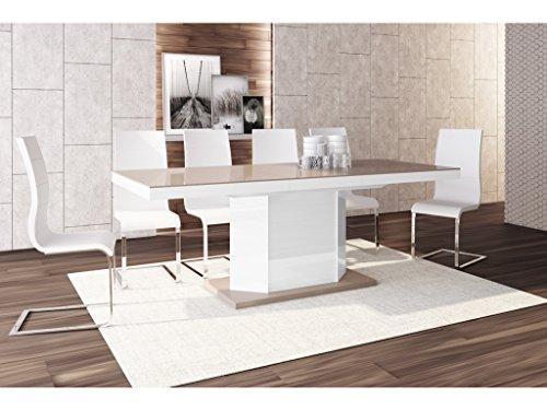 H MEUBLE Table A Manger Design Extensible 160÷256 CM X P : 89 CM X H: 75 CM – Cappuccino/Blanc