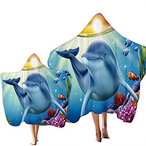 Toalla de Playa con Capucha Padres e Hijos Underwater World Beach Towel Delfines Arcoíris con Capa Toalla de Baño con Mantón de Secado Rápido Ropa de Playa Familiar (Azul 2, Adult 150x200cm)