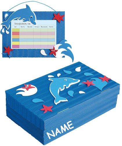 alles-meine.de GmbH 2 TLG. Set Bastelset Schulbox / Kreativbox + Stundenplan - incl. Namen - Delfin blau Tiere - Schule Basteln Malbox für Kinder / Zeichenbox Schachtel / Spielze..
