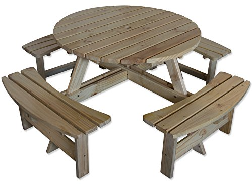 Maribelle 8 Seater Natural Pine Round Wooden Bench/Picnic Table - for Garden, Pub, Patio