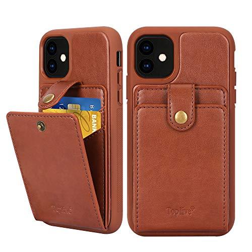 Toplive Funda para iPhone 11 de 6,1 pulgadas con tapa y tarjetero para Apple iPhone 11 (6,1 pulgadas) 2019, color marrón