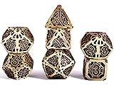 Schleuder D&D Dados Dungeons and Dragons Dados de rol, Dice Metal Gold Set Poliédricos Hueco Pathfinder Juego de Dados Game, Dragones y Mazmorras Juego de Mesa (Bronce Antiguo)