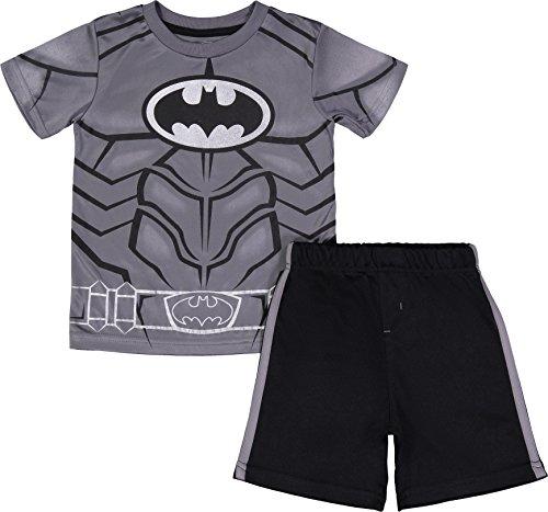 Batman Ensemble Sport Garçon Enfant Tshirt et Bermuda,,4-5 ans,Batman Gris,Medium
