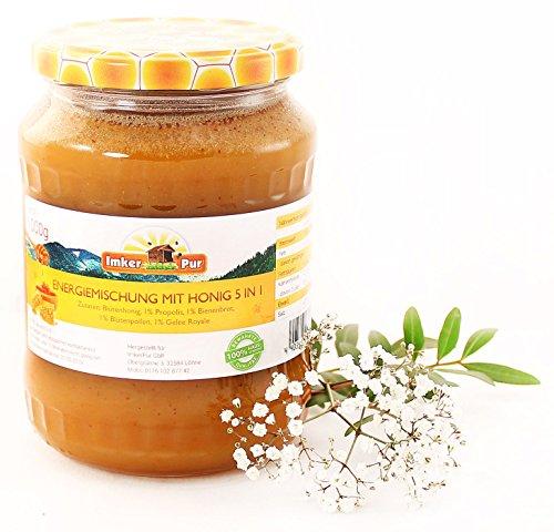 ImkerPur Energie-Mischung mit Honig, 1 kg, Bergblütenhonig mit Blütenpollen, Propolis, Bienenbrot und Gelee Royale (Anteil jeweils 1%), ein echter Power-Booster