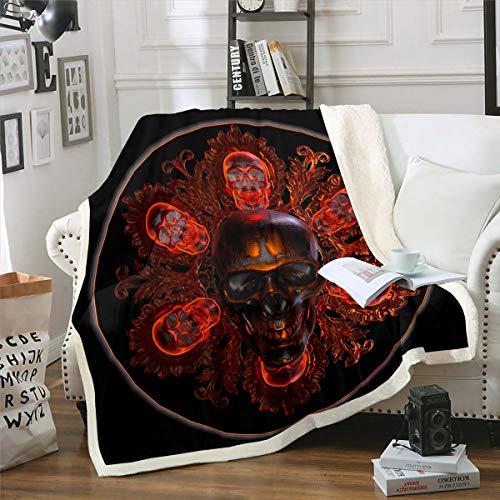 Loussiesd - Manta de forro polar con diseño de calavera, diseño de esqueleto, estilo gótico, para sillón, sofá, decoración de habitación, boho rojo y negro, manta de felpa para bebé, 76 x 40 pulgadas