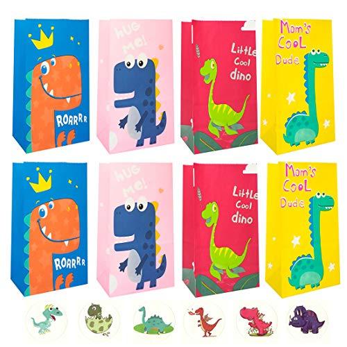 SUNSK Bolsa de Regalo de Dinosaurio Bolsas de Papel Bolsitas para Dulces Contenedor de Caramelos con Adhesivos Caja de Fiesta para Niños Cumpleaños Boda 20 Piezas