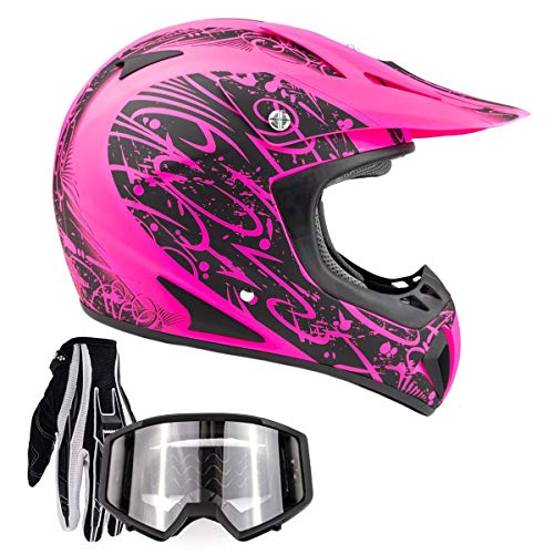 Typhoon Adult Women's Dirt Bike ATV Helmet Motocross Goggles and Gloves Combo