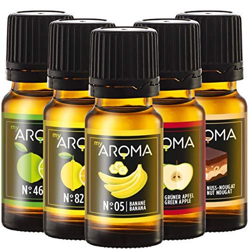 myAROMA - Set: Liquid-Starter-Set - Diacetyl-freies Aroma von myAROMA (5x 10ml) - Dosierung 3-10{72d852d4ca6baac8975631fb03428048e7c7025a115060f7c94234906b51edd4}