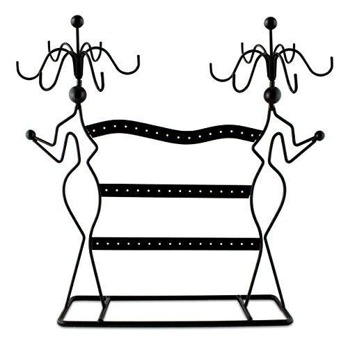 Grinscard Schmuckständer im Silouette Design - ca. 35x34x8 cm, Schwarz - Dekorativer Metall Schmuck-Halter inkl. Haken & gelochte Steckleisten   Schmuck-Aufbewahrung   Ohrring-Ständer   Ketten-Halter