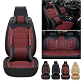 Luxurious Car Seat Covers Full Set PU Leather for Hyundai Santa Fe 5seat 2019-2021 with Headrest&Lumbar Support Black red