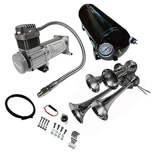 Viking Horns - Universal Fit   Loud 149 dB   Train Air Horn Kit   1.5 Gallon Tank   150 PSI Heavy Duty Compressor   V101C-3/4008