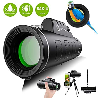 Monocular Telescope - 12X50 High Definition FMC BAK4 HD Monocular ?Day & Low Night Vision? with Smartphone Holder & Tripod IPX7 Waterproof & Eco-Friendly Materials for Bird Watching, Camping (Black)