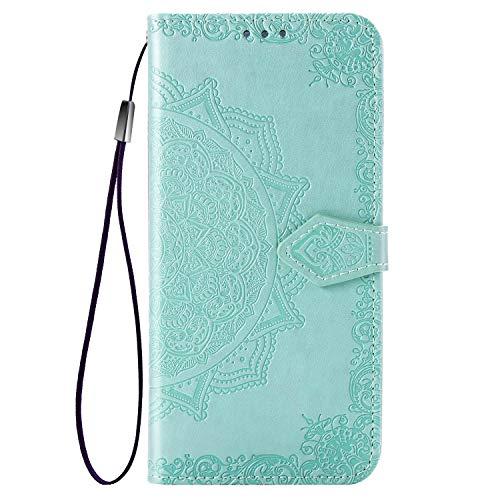 TANYO Hülle Geeignet für Xiaomi Mi Note 10 Pro, Wallet Tasche Hülle, Retro Blumen Muster Design, [Ultra Slim][Card Slot][Handyhülle] Flip Wallet Hülle. Grün