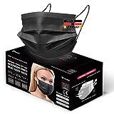 HARD 50x OP Maske Schwarz, Made in Germany, CE zertifiziert, Medizinischer Mundschutz, MNS TYP I EN-14683, 3-lagig, schützende Mund-Nasen-Bedeckung, Einweg-Gesichtsmasken Erwachsen - Derma Test