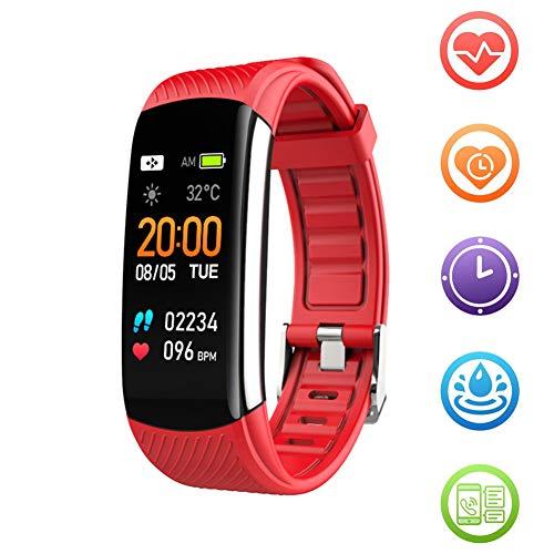 Fitness Tracker HR Smart Band Activity Tracker Waterdicht Gezondheid Oefenhorloge met hartslagmeter Bloeddrukmeter Stappenteller Slaapmonitor Slimme armband voor mannen Vrouwen Kinderen,Red