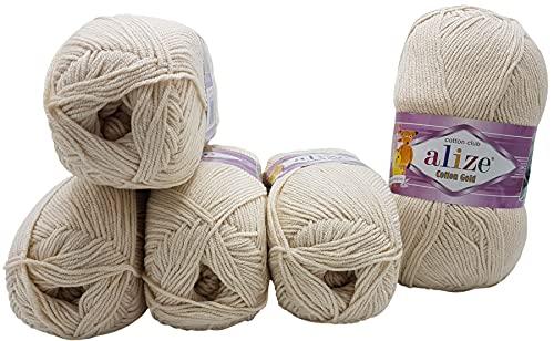 5 ovillos de 100 g de lana para tejer Alize Cotton Gold con 55% algodón, 500 g, color beige claro 67
