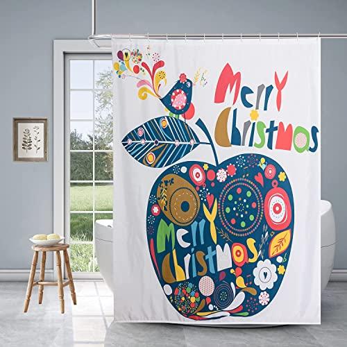 Xikaywnt Weihnachten Duschvorhang für Badezimmer – Wasserdichter Stoff Badezimmer Vorhang mit 12 Haken 70 x 72 Zoll Apfel