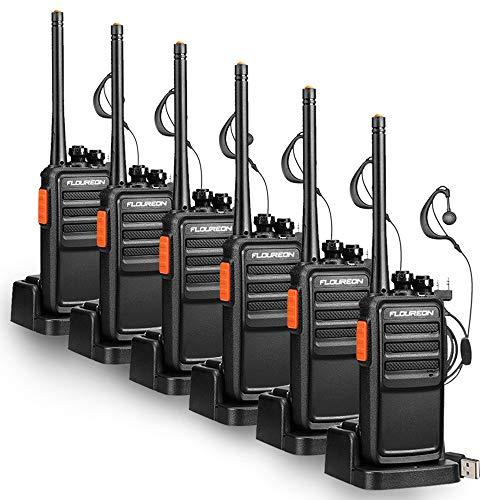 Recargable Walkie Talkies, FLOUREON 16 Canales 3 Par Radio Bidireccional rofesionales para Adultos PMR446 MHz Sin Licencia Transceptor de Interphone de Largo Alcance con Auriculares- Negro