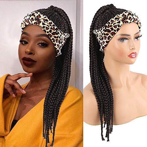 Aisaide Long Afro Twist Crochet Braided Headband Wigs for Black Women,Short Black Braid Wigs with Headband Attached Curly Wrap Wigs 2 in 1 Dreadlocks Wigs with Leapord Scarf Wig Turban Headwrap Wigs
