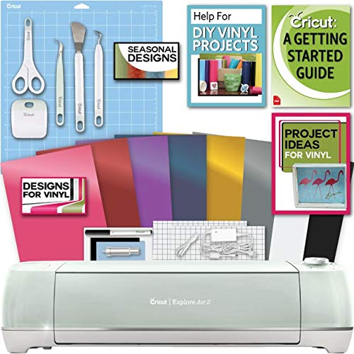 Cricut Explore Air 2 Machine Bundle - Tool Kit, Vinyl Pack, Designs & Project Inspiration
