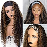 Headband Wig Curly Highlights Colored Human Hair Wigs for Black Women 12 Inch 1b/30 Black with Brown Highlighted Short Deep Wave Half Wig, with 3 Free Headbands 150% Density