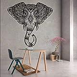 elefante cabeza pared vinilo pegatina arte ventana animal Aztec decoración vivero geométrico calcomanía joven cara Ganesha indio grande Mandala mural
