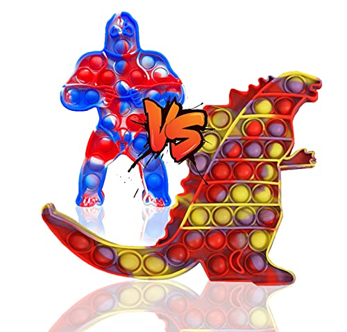 QDASZZ 2Pcs Big Size Godzilla vs King Kong Push Pop Fidget Toys,Autism Special Needs Stress Reliever - Great for The Old and The Young (B-02)