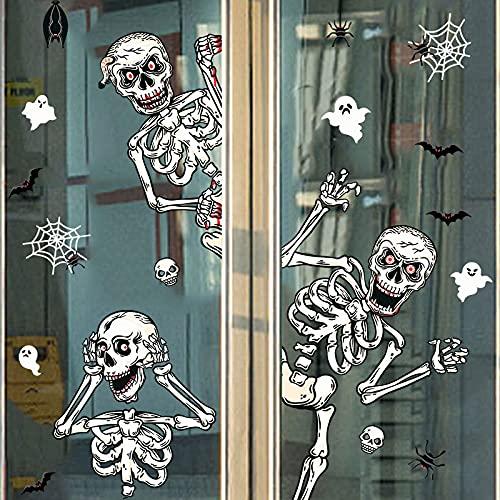 Etiquetas engomadas de la ventana del cráneo del esqueleto de la pared de la casa encantada horror Halloween decoración para el hogar