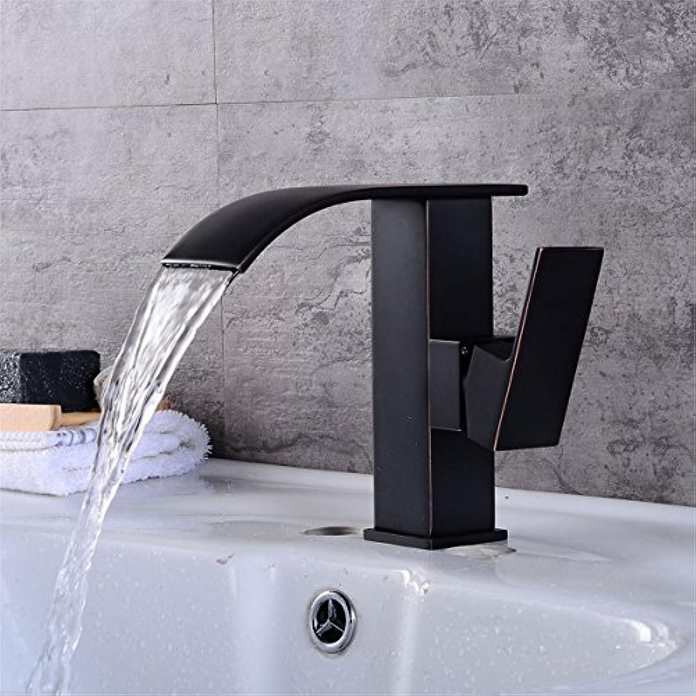 Bijjaladeva Wasserhahn Bad Wasserfall Mischbatterie Waschbecken Armatur für Retro Schwarz Waschtisch Armatur Waschbecken Waschtisch Armatur Wasserfall abgesenkt Waschbecken Wasserh