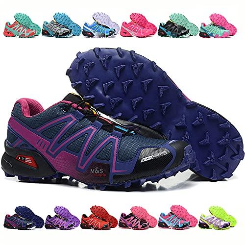 KUXUAN Calzado de Ciclismo Calzado de Senderismo para Mujer Calzado para Correr Calzado para Caminar Botas de Trekking Antideslizante Escalada Deportes Acuático,DarkPurple-40EU