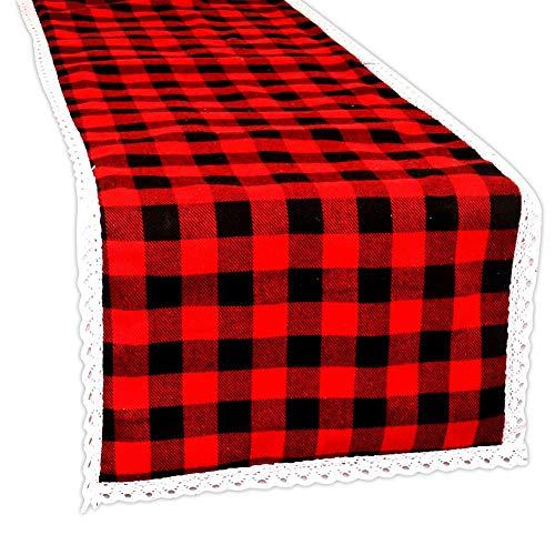 Hangnuo Tafelloper van kant, rood en zwart geruit, voor Kerstmis, boerderhuis, houthaken, verjaardag, bruiloft, party, decoraties