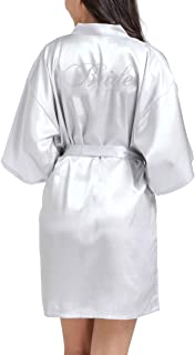 Lovacely Women's Satin Kimono Robe for Bridesmaid and Bride Wedding Party Short Robes with Rhinestones Dressing Gown
