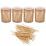 Gmark Bamboo Wooden Toothpicks 1600 Pieces Wood Round Toothpicks in Plastic Storage Holder| Sturdy Double Sided for Party, Olive, Fruit, Teeth Cleaning Toothpicks (4 Packs of 400pc) GM1102