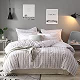 Merryfeel Seersucker Duvet Cover Set,100% Cotton Yarn Dyed Seersucker Duvet Cover with Pillowshams,3 Pieces Bedding Set- Full/Queen Natural