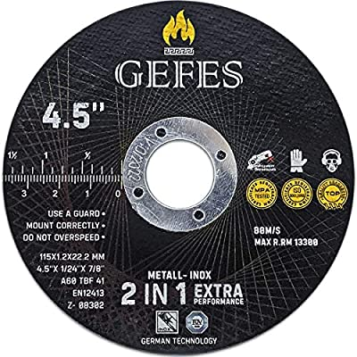"""GEFES   25 Pack 4-1/2"""" x 1/24"""" x 7/8""""   Premium Thin Cut Off Wheels - For Cutting Metal and Stainless Steel   For Angle Grinder   Extremely durable disc"""