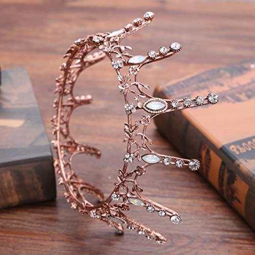 HETUI Mode Braut Kopfschmuck Barock Retro Diamant Krone Brautkleid Accessoires (Bronze)