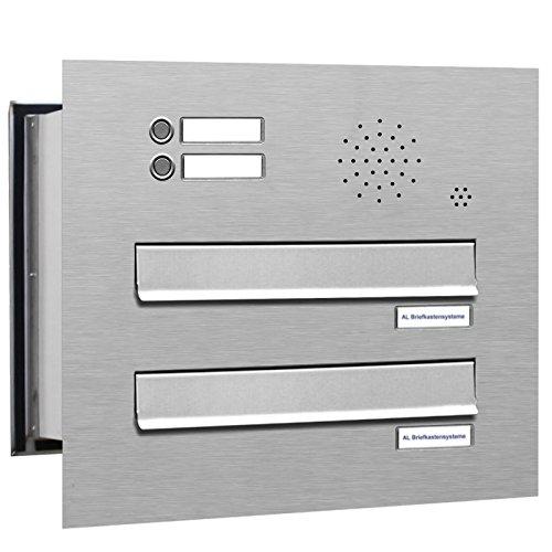 AL Briefkastensysteme 2 er Briefkasten Mauerdurchwurf in V2A Edelstahl mit Klingel, 2 Fach DIN A4, wetterfeste Premium Briefkastenanlage Postkasten