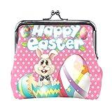 Monedero de piel rosa con diseño de huevos de conejo, para mujeres y niñas