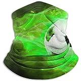 Photo de Mj-Shop Cache-cou en molleton de football vert - Col polyvalent réversible, serre-tête et masque plus chauds pour hommes et femmes